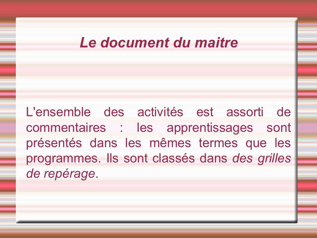 Le document du maitre L ensemble des activités est assorti de commentaires : les apprentissages sont présentés dans les mêmes termes que les programmes.