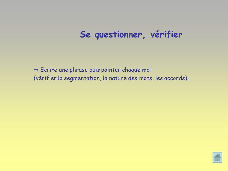Se questionner, vérifier  Ecrire une phrase puis pointer chaque mot (vérifier la segmentation, la nature des mots, les accords).