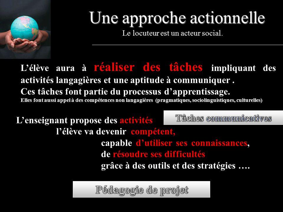 Une approche actionnelle Le locuteur est un acteur social.