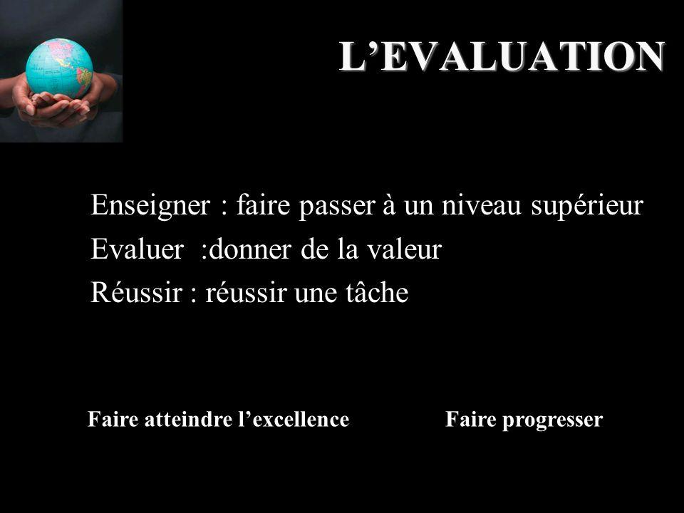 L'EVALUATION Enseigner : faire passer à un niveau supérieur Evaluer :donner de la valeur Réussir : réussir une tâche Faire atteindre l'excellenceFaire progresser