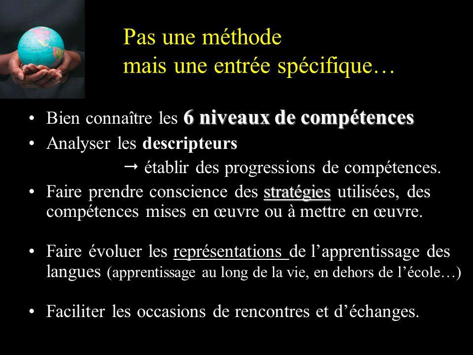 Pas une méthode mais une entrée spécifique… 6 niveaux de compétencesBien connaître les 6 niveaux de compétences Analyser les descripteurs  établir des progressions de compétences.