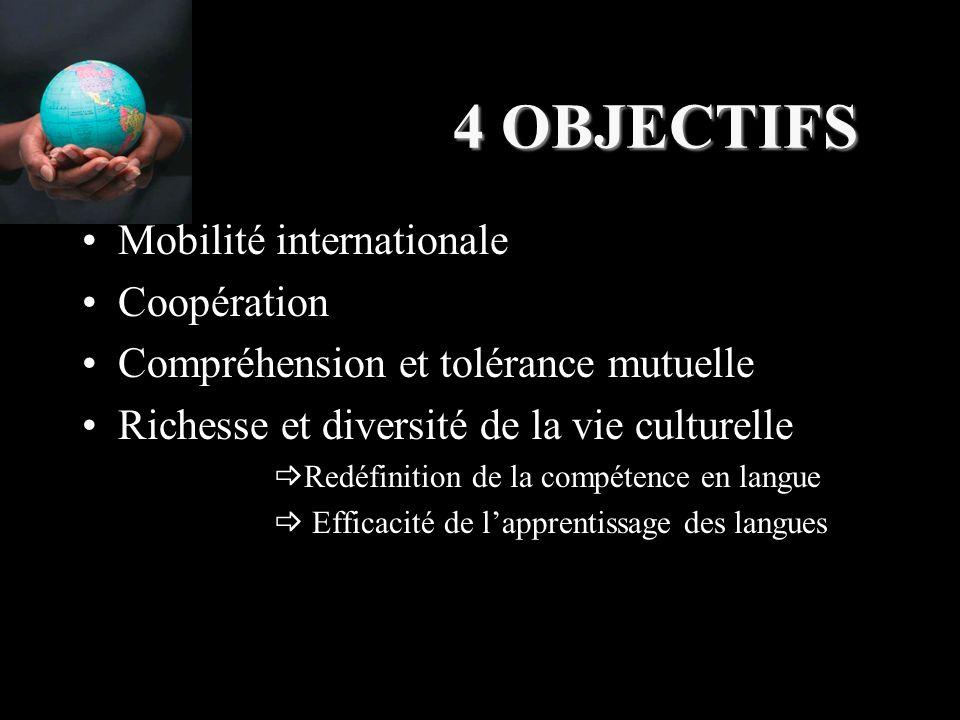 4 OBJECTIFS Mobilité internationale Coopération Compréhension et tolérance mutuelle Richesse et diversité de la vie culturelle  Redéfinition de la compétence en langue  Efficacité de l'apprentissage des langues