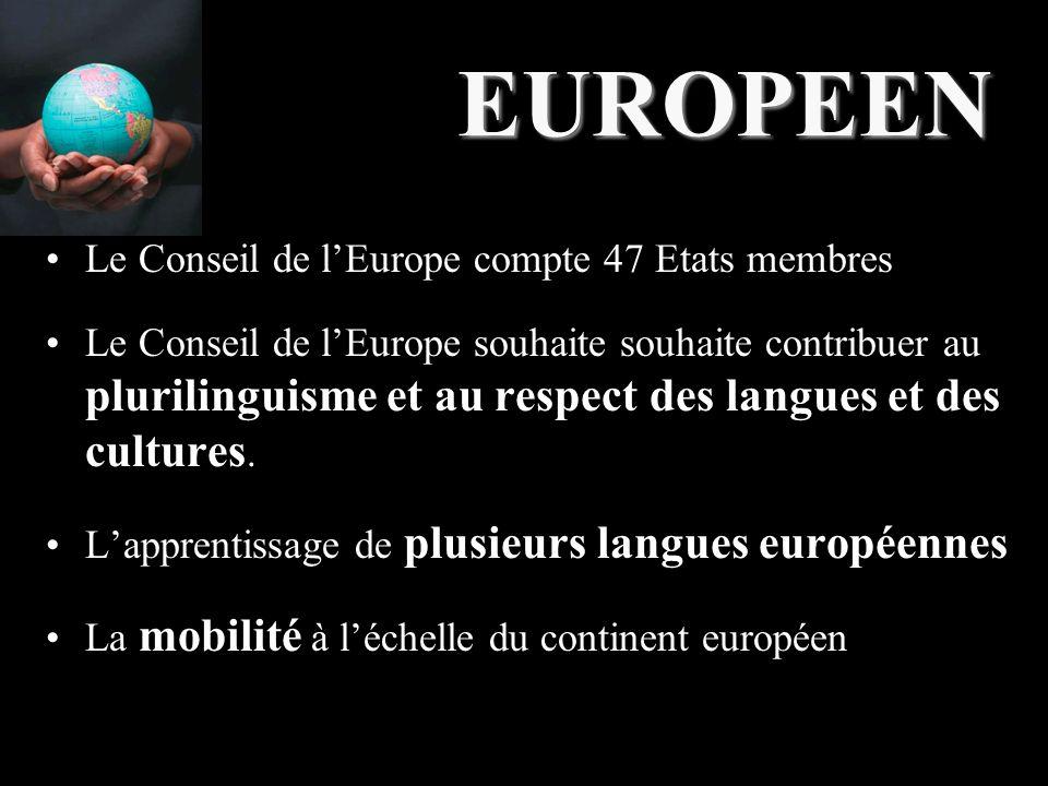 EUROPEEN Le Conseil de l'Europe compte 47 Etats membres Le Conseil de l'Europe souhaite souhaite contribuer au plurilinguisme et au respect des langues et des cultures.