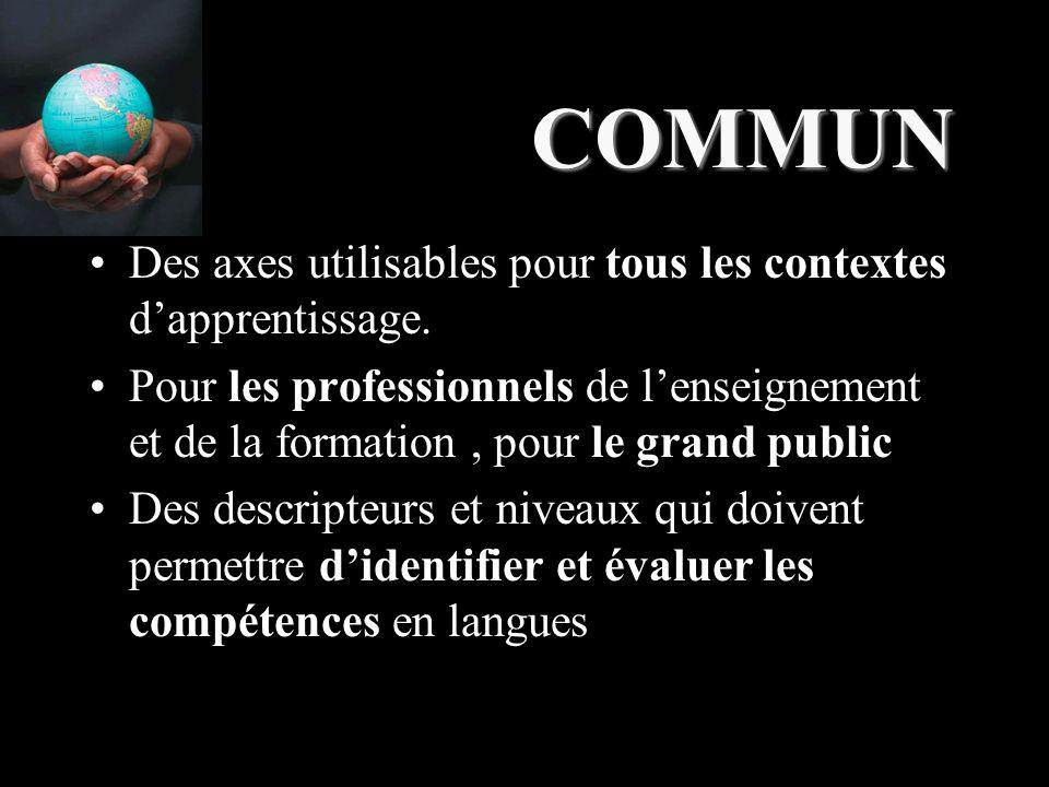 COMMUN Des axes utilisables pour tous les contextes d'apprentissage.
