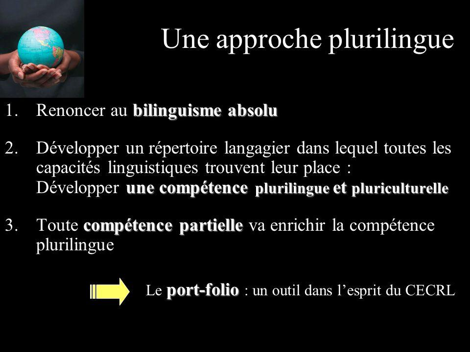 Une approche plurilingue bilinguisme absolu 1.Renoncer au bilinguisme absolu une compétence plurilingue et pluriculturelle 2.Développer un répertoire langagier dans lequel toutes les capacités linguistiques trouvent leur place : Développer une compétence plurilingue et pluriculturelle compétence partielle 3.Toute compétence partielle va enrichir la compétence plurilingue port-folio Le port-folio : un outil dans l'esprit du CECRL