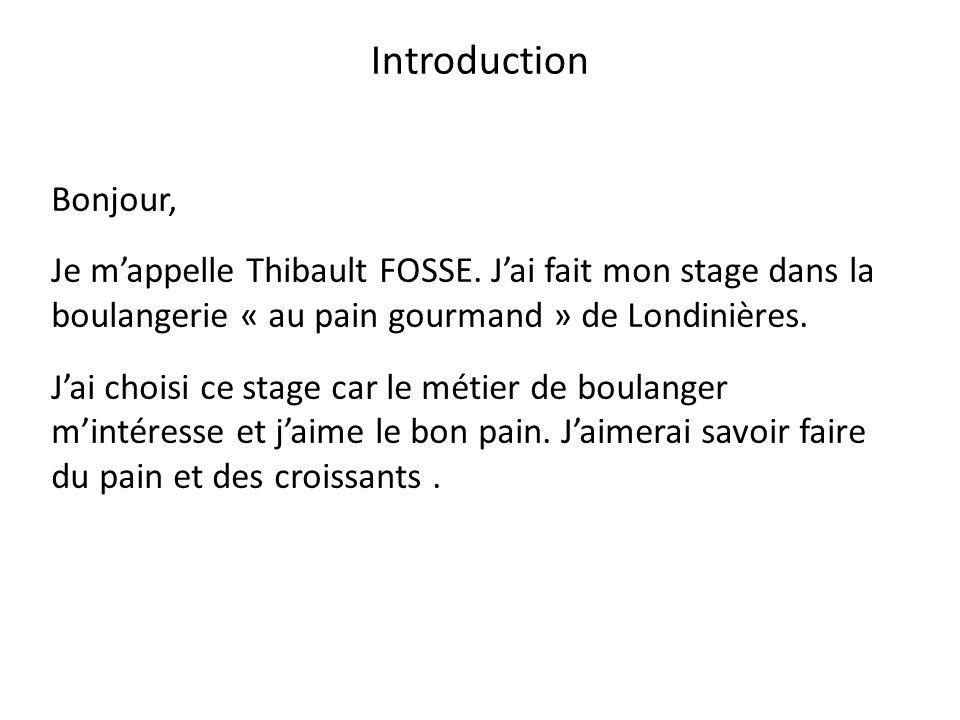 Introduction Bonjour, Je m'appelle Thibault FOSSE. J'ai fait mon stage dans la boulangerie « au pain gourmand » de Londinières. J'ai choisi ce stage c