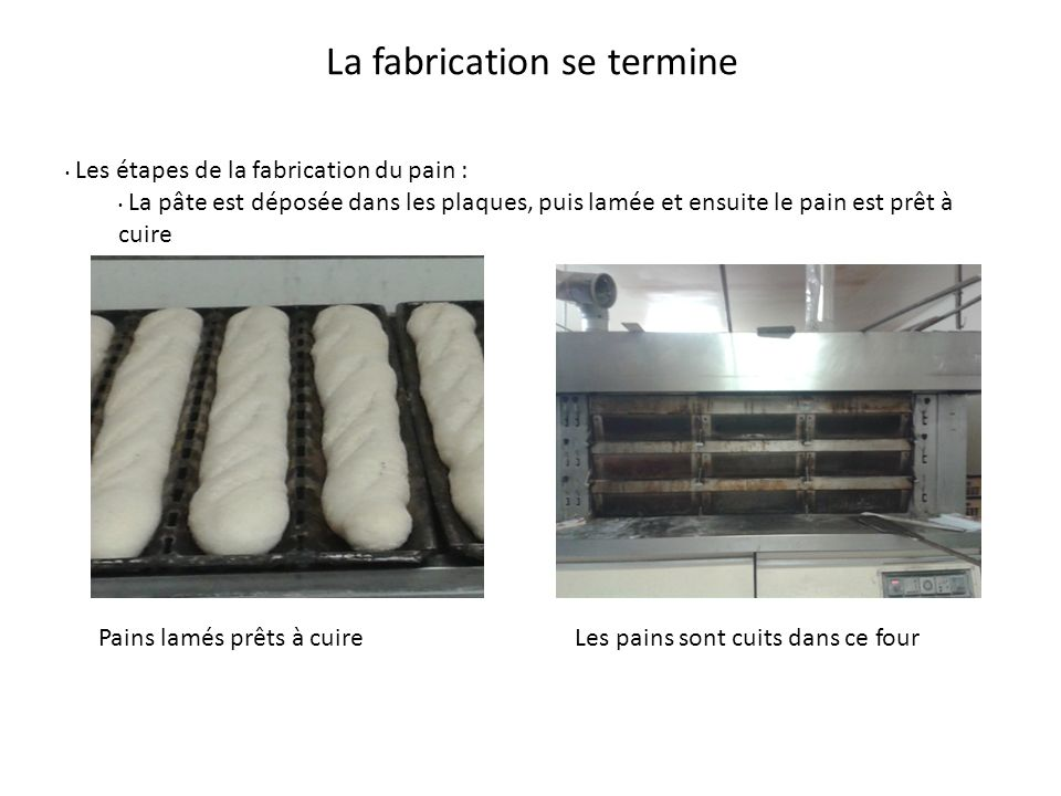 La fabrication se termine Pains lamés prêts à cuire Les étapes de la fabrication du pain : La pâte est déposée dans les plaques, puis lamée et ensuite le pain est prêt à cuire Les pains sont cuits dans ce four
