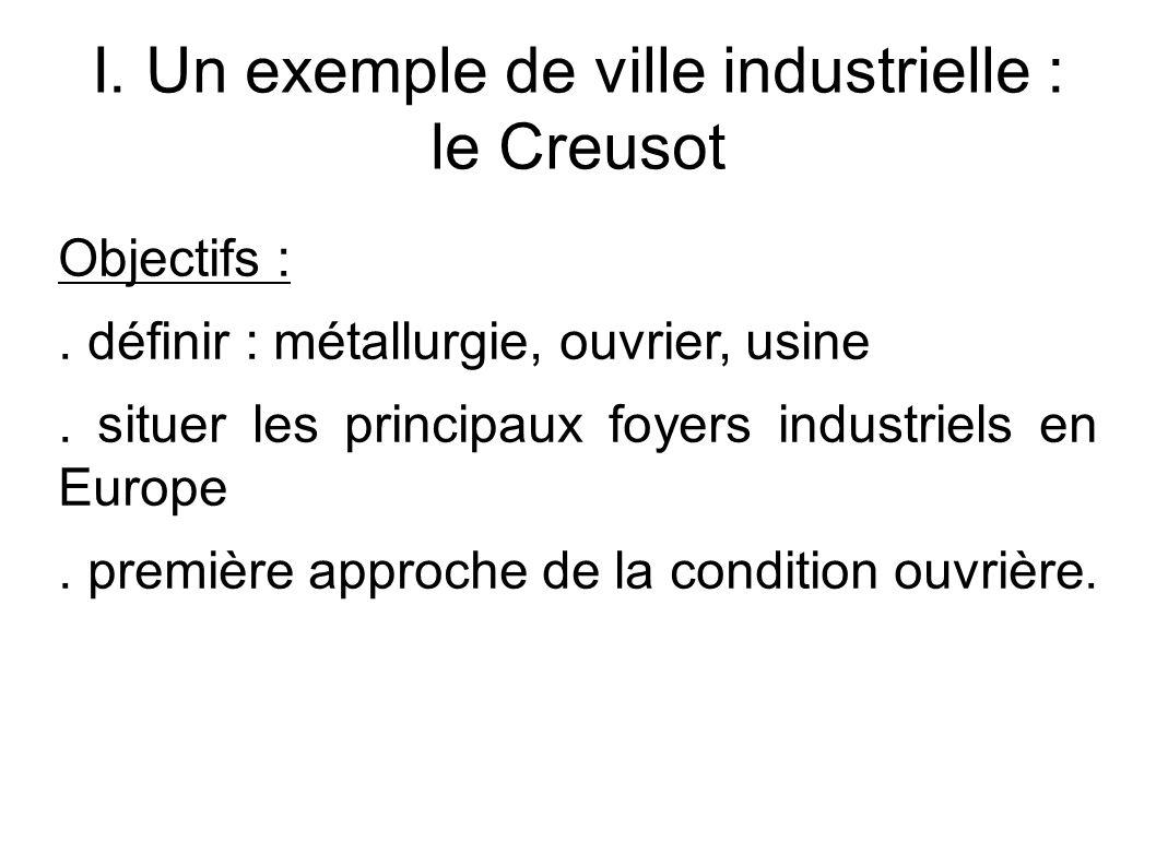 I. Un exemple de ville industrielle : le Creusot Objectifs :.