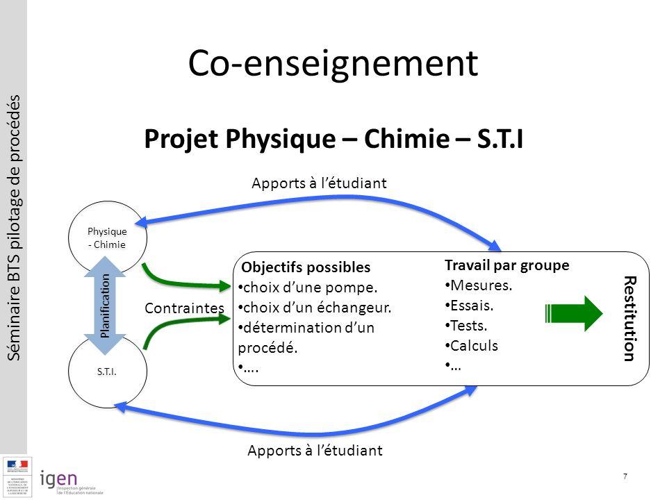 Séminaire BTS pilotage de procédés Projet Physique – Chimie – S.T.I Co-enseignement 7 Physique - Chimie S.T.I.