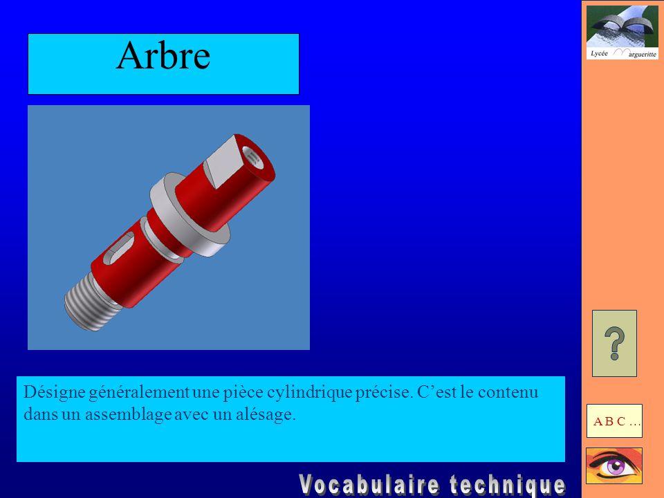 Arbre Désigne généralement une pièce cylindrique précise.