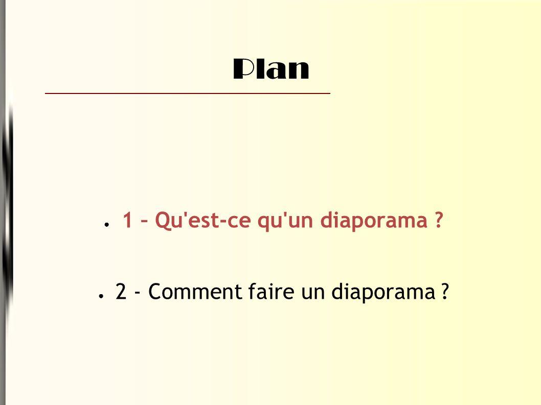 Plan ● 1 – Qu est-ce qu un diaporama ● 2 - Comment faire un diaporama