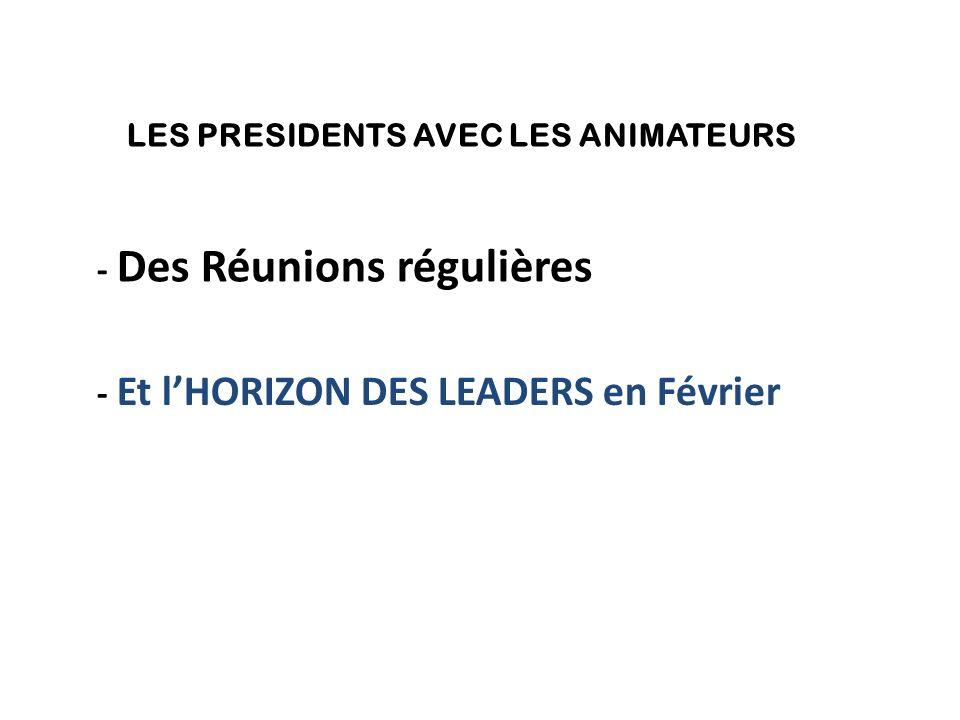 LES PRESIDENTS AVEC LES ANIMATEURS - Des Réunions régulières - Et l'HORIZON DES LEADERS en Février