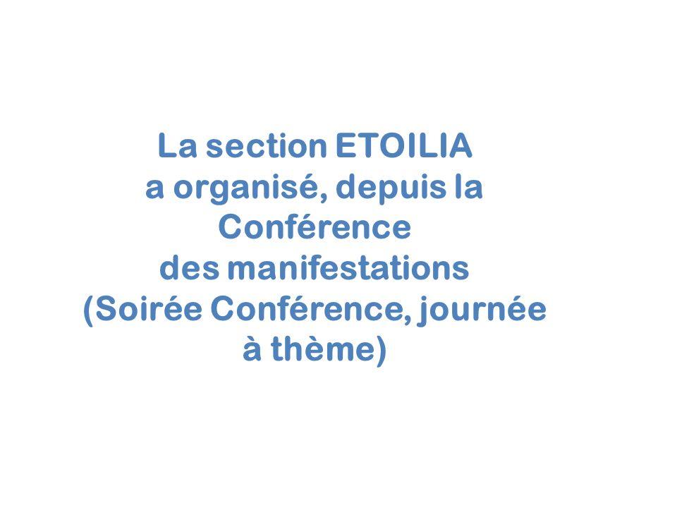La section ETOILIA a organisé, depuis la Conférence des manifestations (Soirée Conférence, journée à thème)