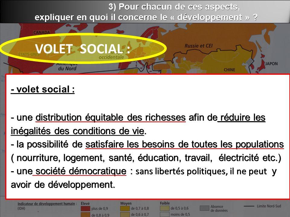 3) Pour chacun de ces aspects, expliquer en quoi il concerne le « développement » .