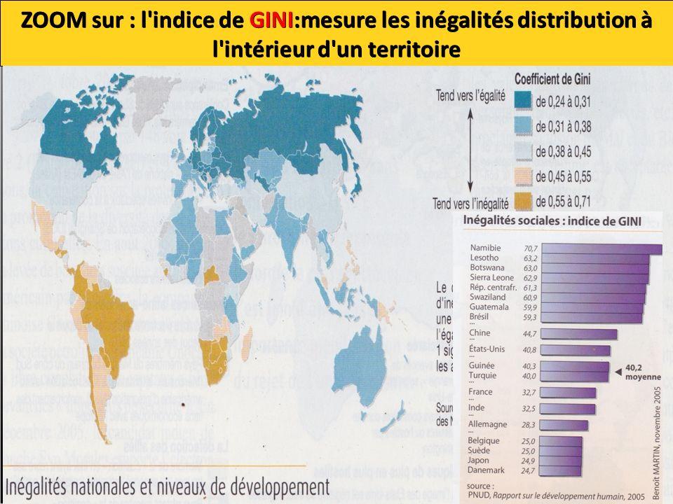 ZOOM sur : l indice de GINI:mesure les inégalités distribution à l intérieur d un territoire