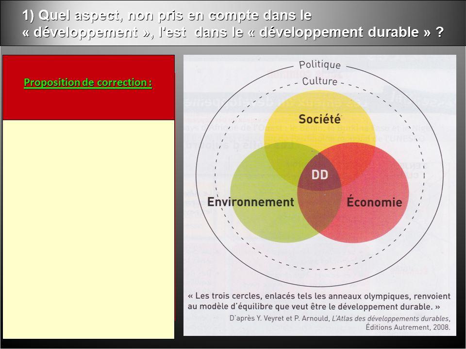 1) Quel aspect, non pris en compte dans le « développement », l est dans le « développement durable » .