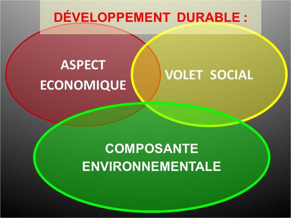 ASPECT ECONOMIQUE VOLET SOCIAL COMPOSANTE ENVIRONNEMENTALE DÉVELOPPEMENT DURABLE :