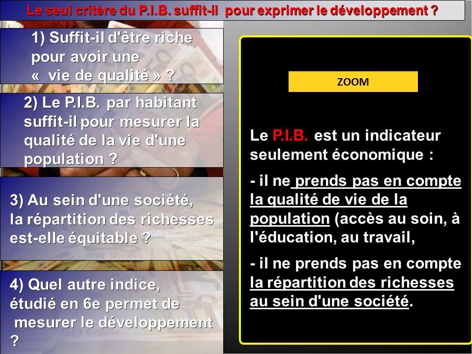 Le seul critère du P.I.B. suffit-il pour exprimer le développement .