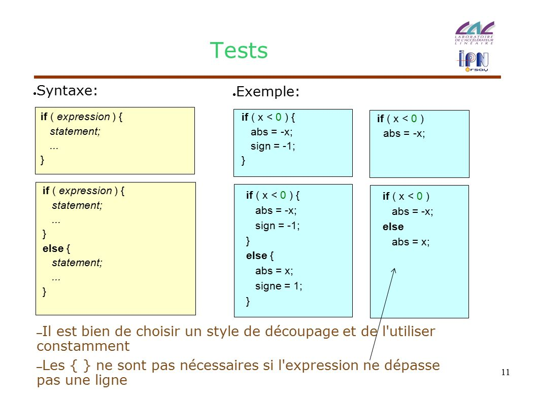 11 Tests if ( expression ) { statement;... } if ( expression ) { statement;...
