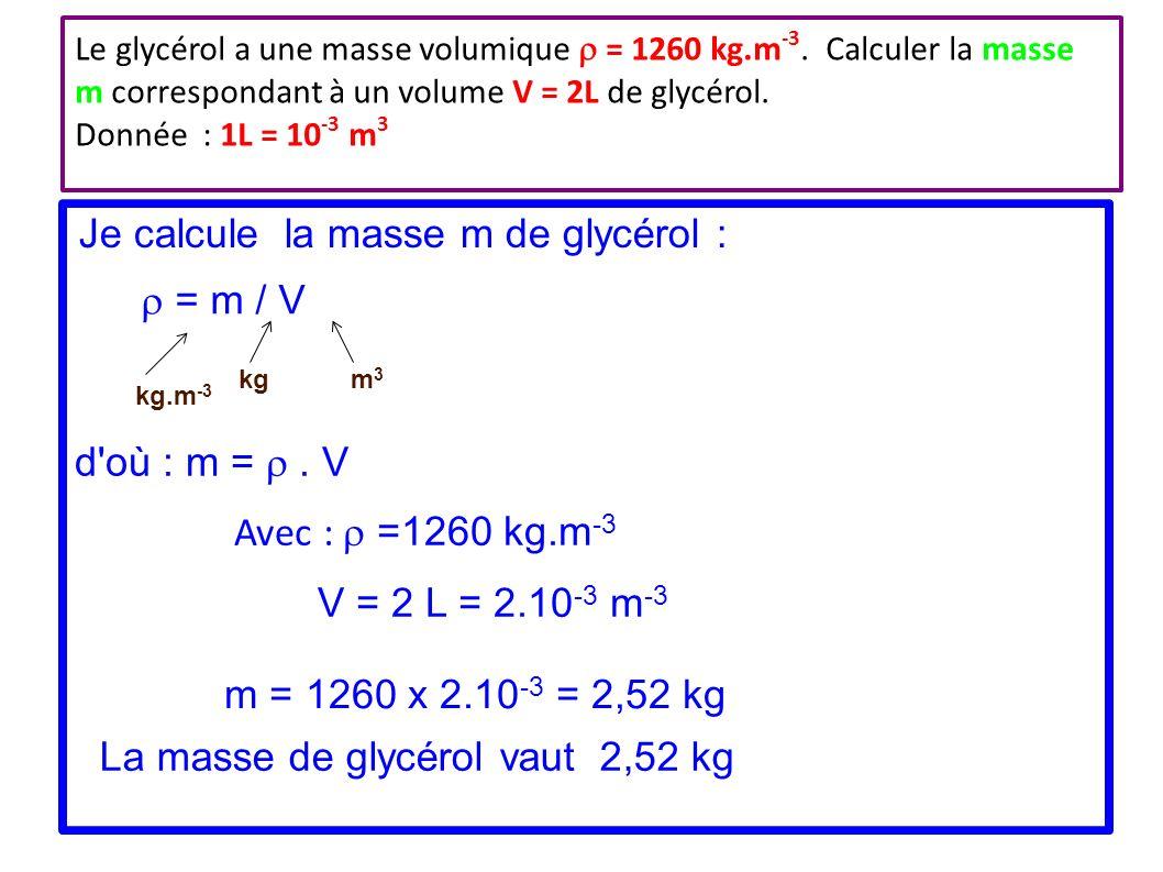 calcul masse