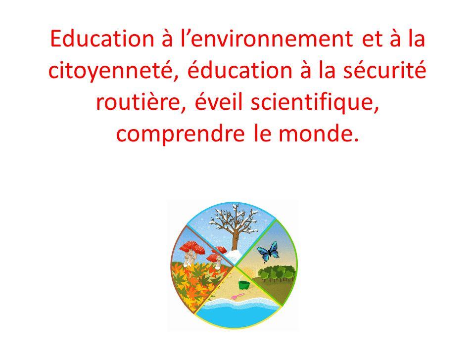 Education à l'environnement et à la citoyenneté, éducation à la sécurité routière, éveil scientifique, comprendre le monde.