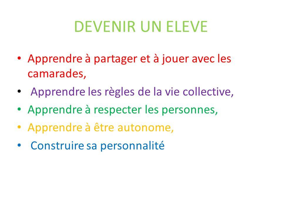 DEVENIR UN ELEVE Apprendre à partager et à jouer avec les camarades, Apprendre les règles de la vie collective, Apprendre à respecter les personnes, Apprendre à être autonome, Construire sa personnalité