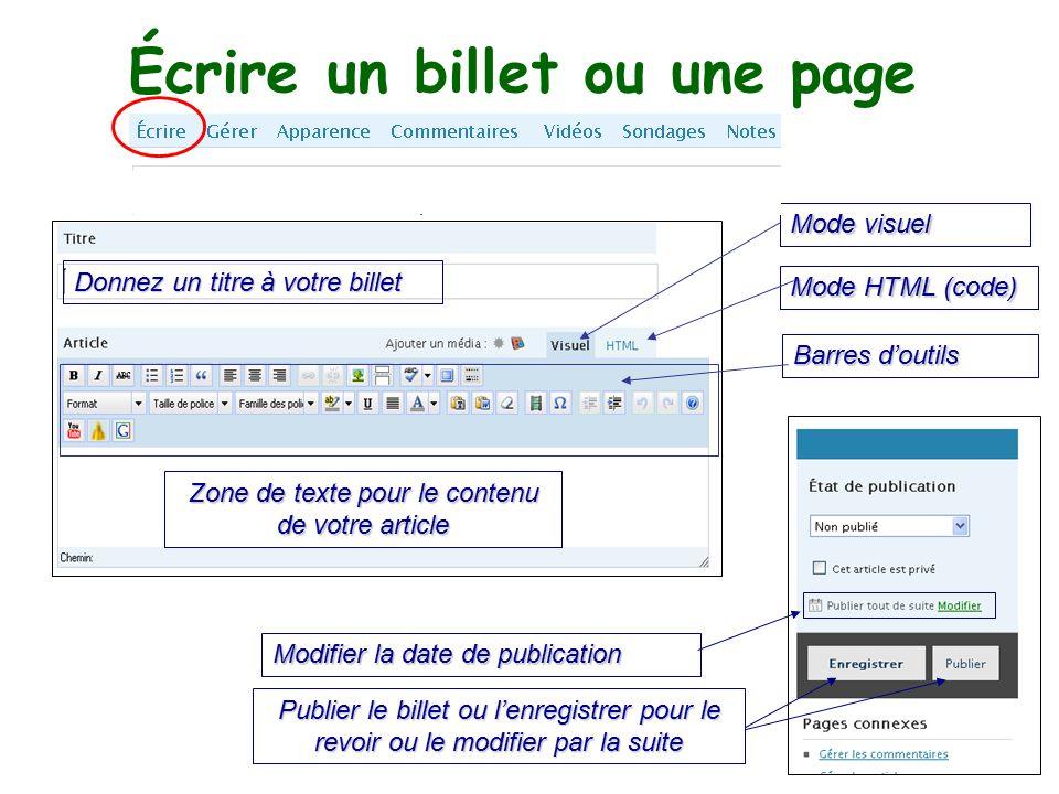 Écrire un billet ou une page Zone de texte pour le contenu de votre article Donnez un titre à votre billet Modevisuel Mode visuel Mode HTML (code) Barres d'outils Modifier la date de publication Publier le billet ou l'enregistrer pour le revoir ou le modifier par la suite