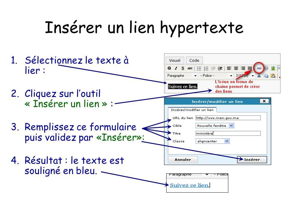 Insérer un lien hypertexte 1.Sélectionnez le texte à lier : 2.Cliquez sur l'outil « Insérer un lien » : 3.Remplissez ce formulaire puis validez par «Insérer»: 4.Résultat : le texte est souligné en bleu.