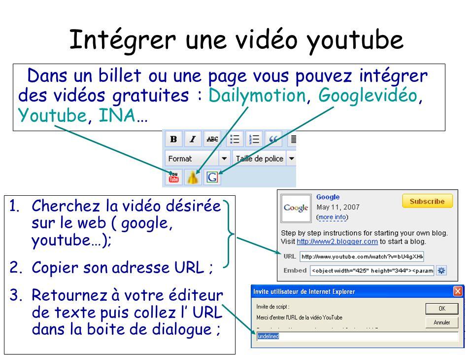 Intégrer une vidéo youtube Dans un billet ou une page vous pouvez intégrer des vidéos gratuites : Dailymotion, Googlevidéo, Youtube, INA… 1.Cherchez la vidéo désirée sur le web ( google, youtube…); 2.Copier son adresse URL ; 3.Retournez à votre éditeur de texte puis collez l' URL dans la boite de dialogue ;