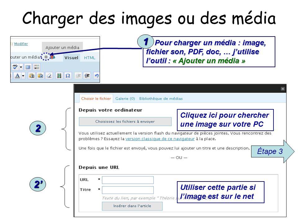 Charger des images ou des média 1) Pour charger un média : image, fichier son, PDF, doc, … j'utilise l'outil : « Ajouter un média » 2 2' 1 Étape 3 Cliquez ici pour chercher une image sur votre PC Utiliser cette partie si l'image est sur le net