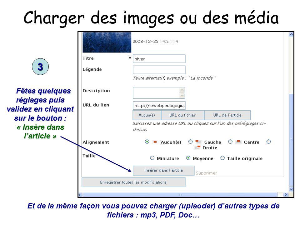 Charger des images ou des média 3 Fêtes quelques réglages puis validez en cliquant sur le bouton : « Insère dans l'article » Fêtes quelques réglages puis validez en cliquant sur le bouton : « Insère dans l'article » Et de la même façon vous pouvez charger (uplaoder) d'autres types de fichiers : mp3, PDF, Doc…