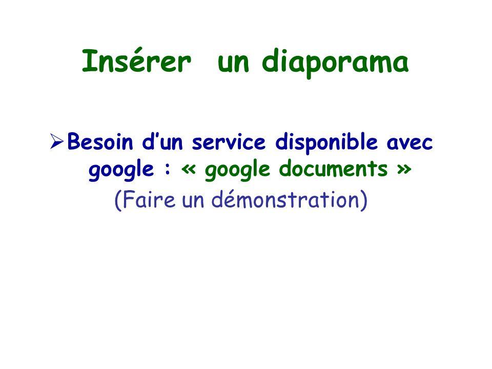 Insérer un diaporama  Besoin d'un service disponible avec google : « google documents » (Faire un démonstration)