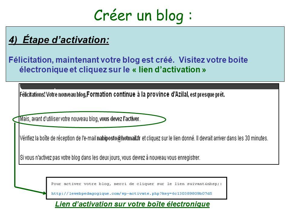 Créer un blog : 4) Étape d'activation: Félicitation, maintenant votre blog est créé.
