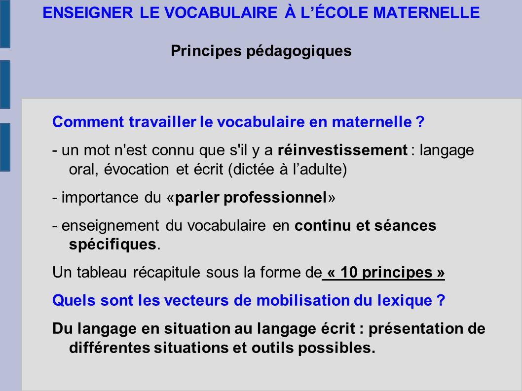 ENSEIGNER LE VOCABULAIRE À L'ÉCOLE MATERNELLE Principes pédagogiques Comment travailler le vocabulaire en maternelle .