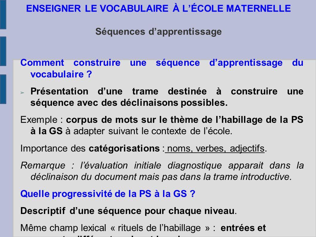 ENSEIGNER LE VOCABULAIRE À L'ÉCOLE MATERNELLE Séquences d'apprentissage Comment construire une séquence d'apprentissage du vocabulaire .