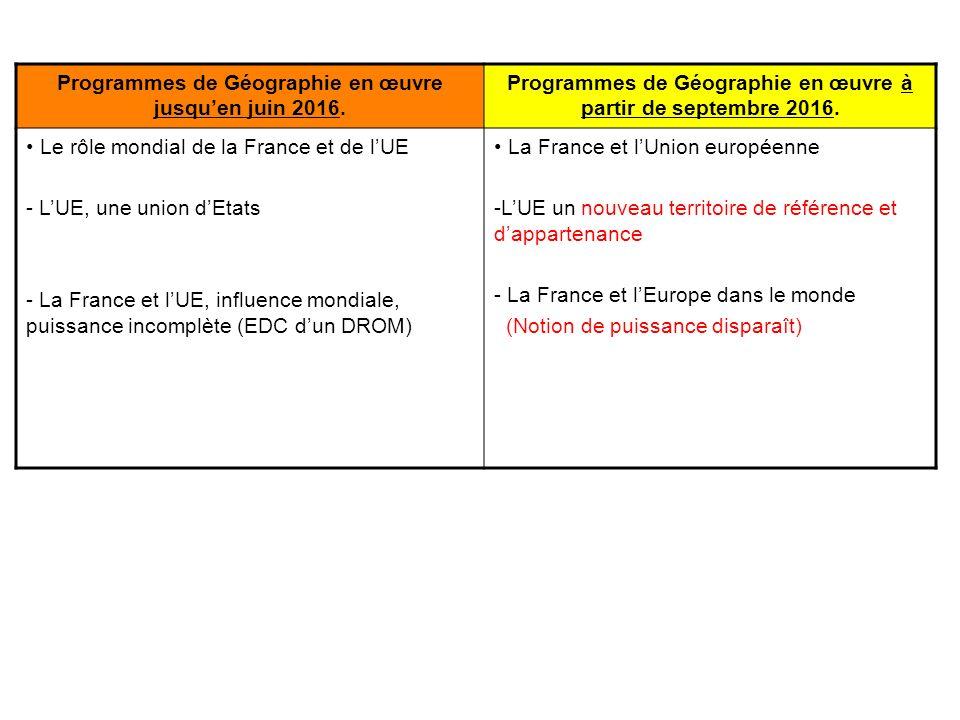 Programmes de Géographie en œuvre jusqu'en juin 2016.