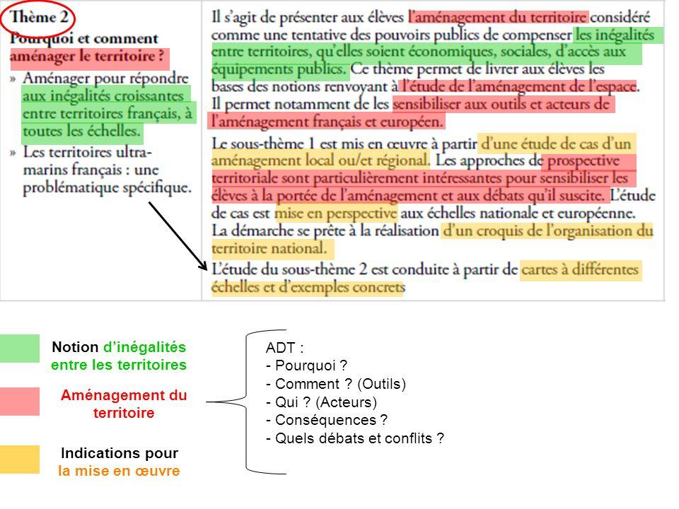 Indications pour la mise en œuvre Notion d'inégalités entre les territoires Aménagement du territoire ADT : - Pourquoi .