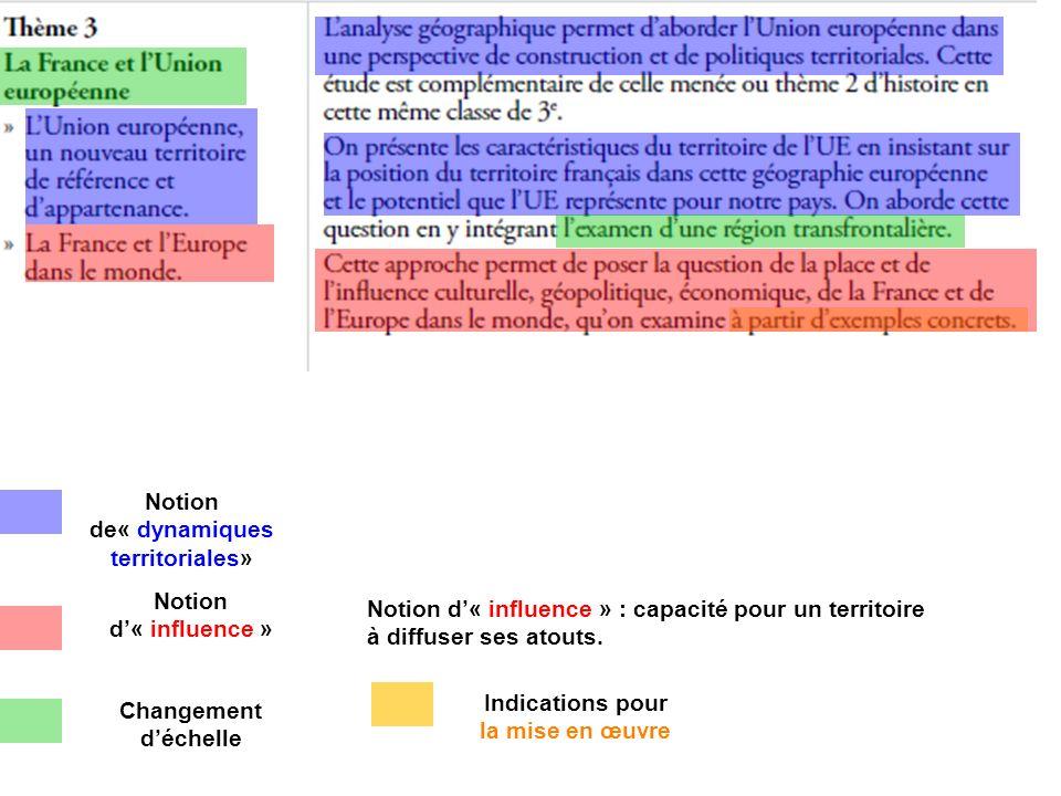 Indications pour la mise en œuvre Notion de« dynamiques territoriales» Notion d'« influence » Notion d'« influence » : capacité pour un territoire à diffuser ses atouts.