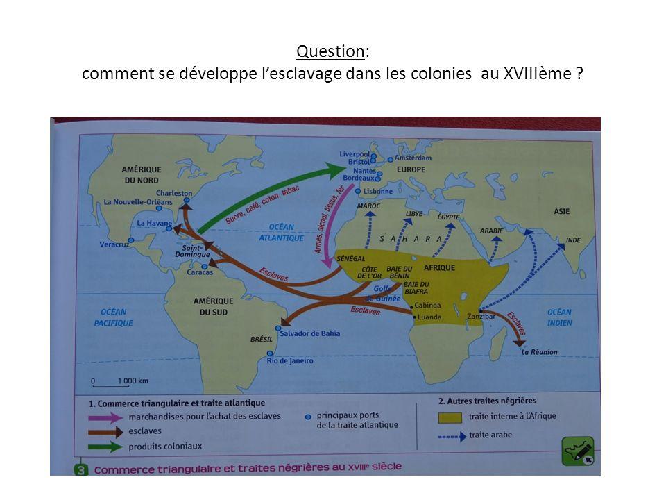 Question: comment se développe l'esclavage dans les colonies au XVIIIème