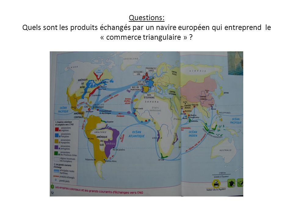 Questions: Quels sont les produits échangés par un navire européen qui entreprend le « commerce triangulaire »