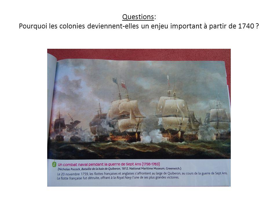 Questions: Pourquoi les colonies deviennent-elles un enjeu important à partir de 1740