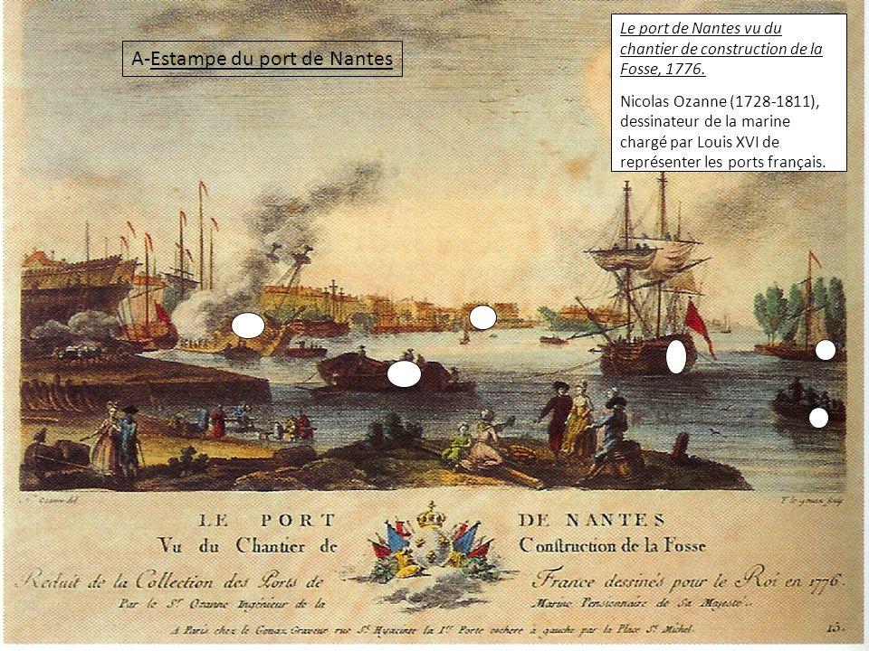 Le port de Nantes vu du chantier de construction de la Fosse, 1776.