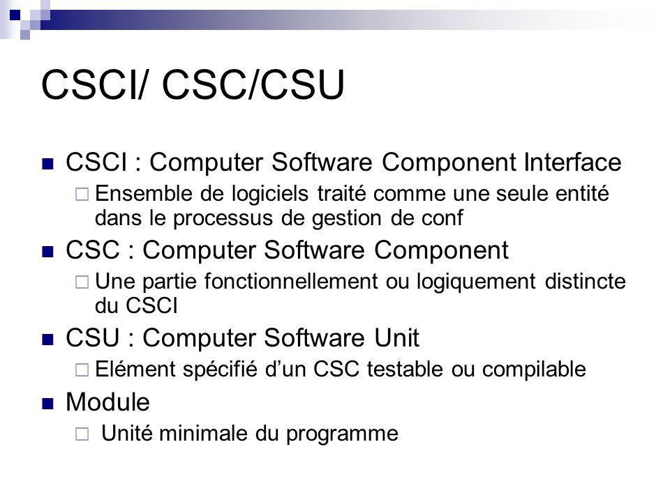 CSCI/ CSC/CSU CSCI : Computer Software Component Interface  Ensemble de logiciels traité comme une seule entité dans le processus de gestion de conf CSC : Computer Software Component  Une partie fonctionnellement ou logiquement distincte du CSCI CSU : Computer Software Unit  Elément spécifié d'un CSC testable ou compilable Module  Unité minimale du programme