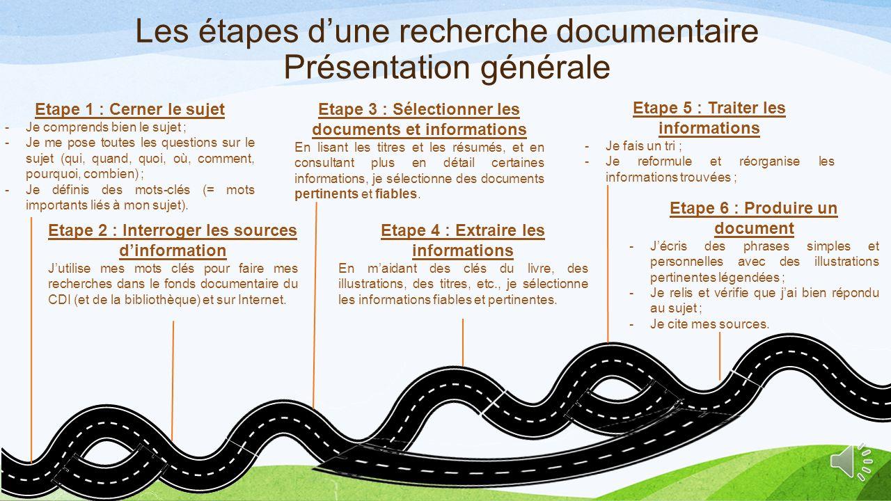 2.1) Etapes de la recherche documentaire OBJECTIFS : -Connaître les différentes étapes d'une recherche documentaire ; -Connaître les 2 notions clés : fiabilité et pertinence.