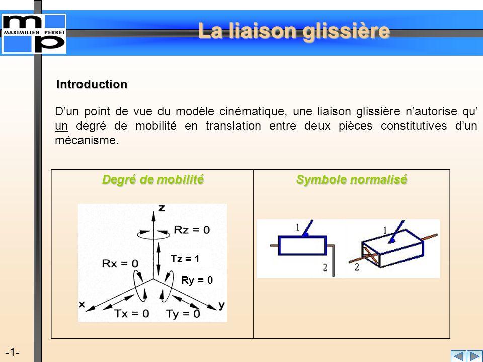 La liaison glissière -1- D'un point de vue du modèle cinématique, une liaison glissière n'autorise qu' un degré de mobilité en translation entre deux
