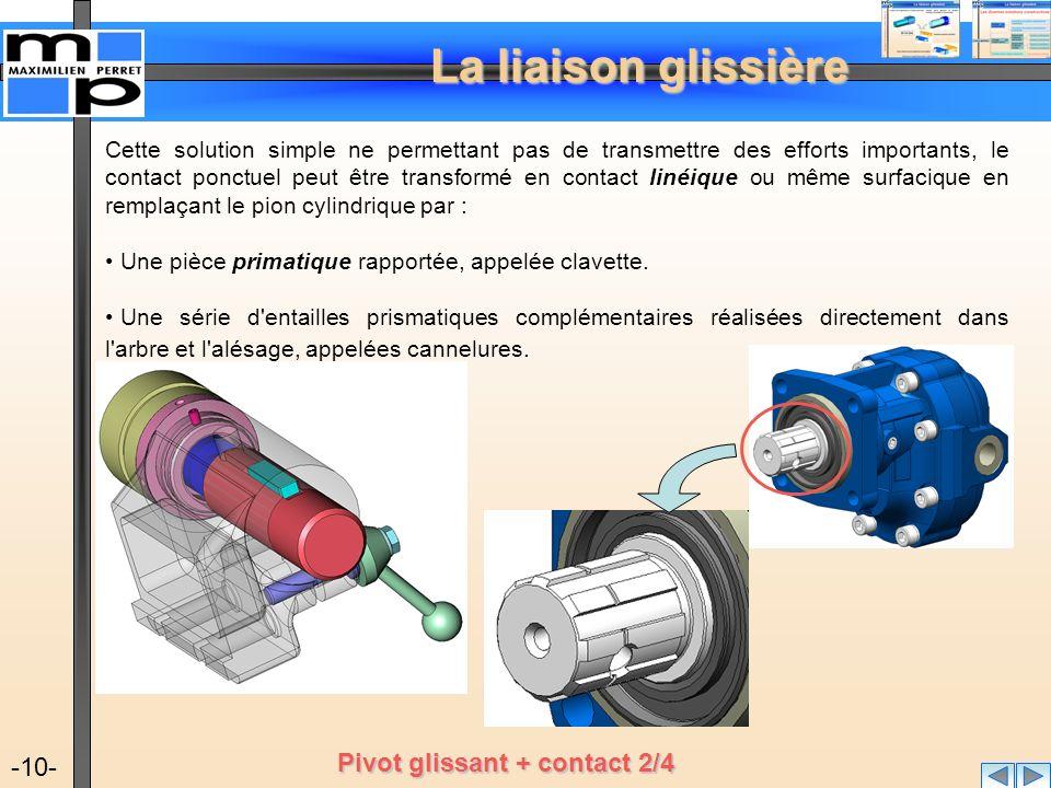 La liaison glissière -10- Cette solution simple ne permettant pas de transmettre des efforts importants, le contact ponctuel peut être transformé en c