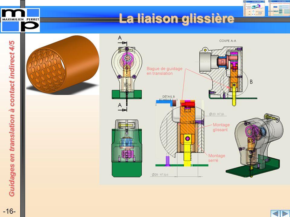 La liaison glissière -16- Guidages en translation à contact indirect 4/5