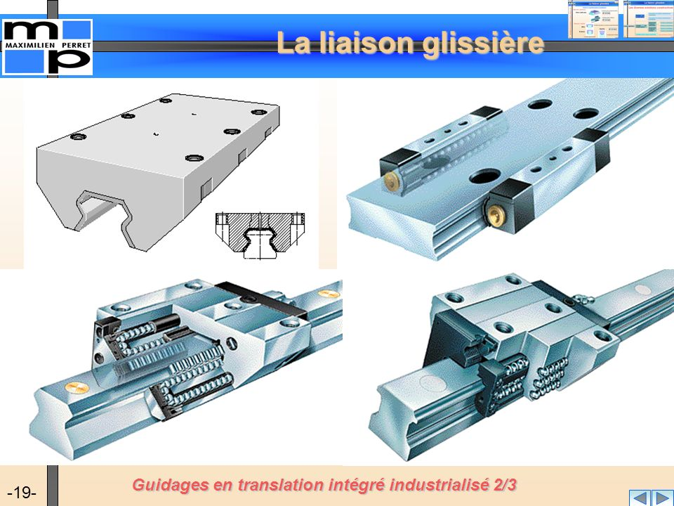 La liaison glissière -19- Guidages en translation intégré industrialisé 2/3
