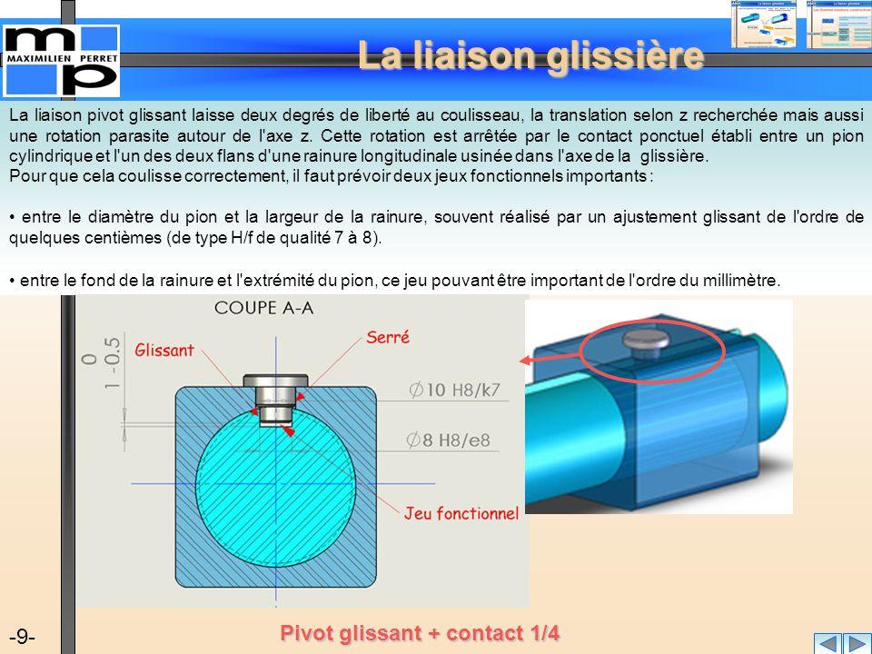 La liaison glissière -10- Cette solution simple ne permettant pas de transmettre des efforts importants, le contact ponctuel peut être transformé en contact linéique ou même surfacique en remplaçant le pion cylindrique par : Une pièce primatique rapportée, appelée clavette.