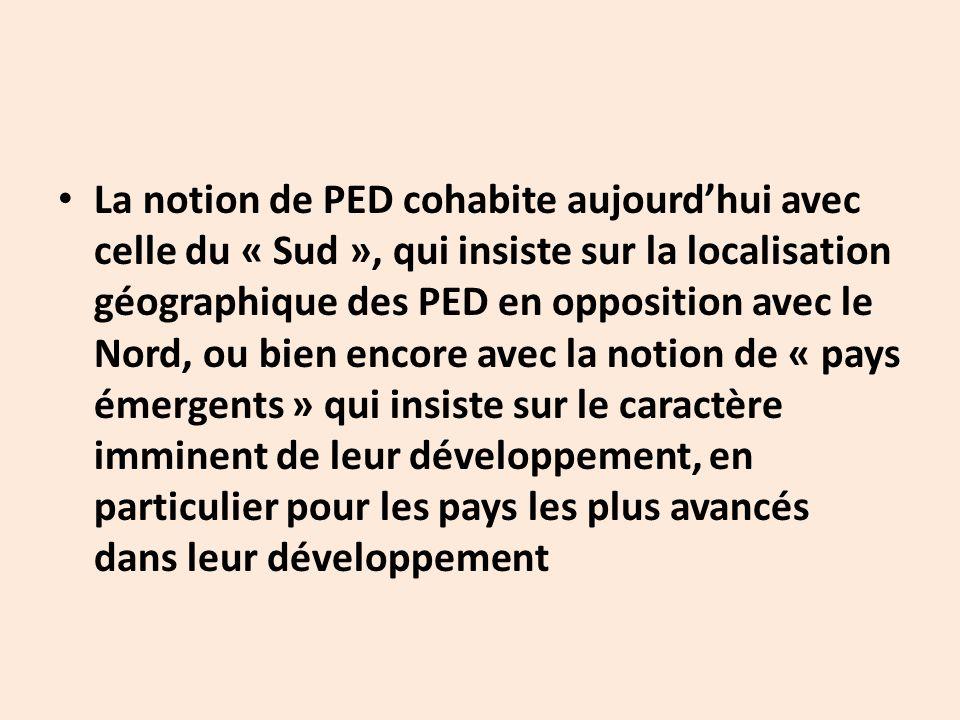 La notion de PED cohabite aujourd'hui avec celle du « Sud », qui insiste sur la localisation géographique des PED en opposition avec le Nord, ou bien encore avec la notion de « pays émergents » qui insiste sur le caractère imminent de leur développement, en particulier pour les pays les plus avancés dans leur développement